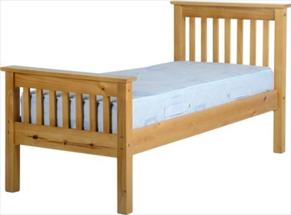 BuBED11  Monaco 3Ft Bed High Foot End in Antique Pine