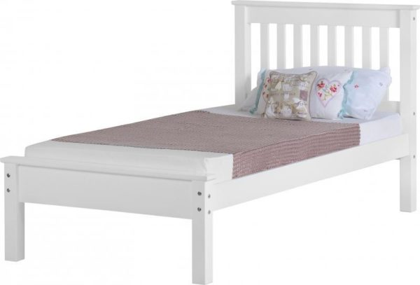 BuBED12  Monaco 3Ft Bed Low Foot End in White