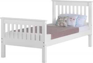BuBED13  Monaco 3Ft Bed High Foot in White