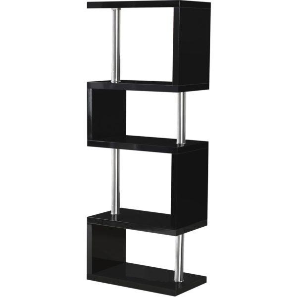 BBS1049  Charisma 5 Shelf Unit in Black Gloss/Chrome