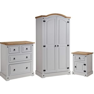 BBS1059  Corona Trio in Grey / Distressed Waxed Pine tops. Includes wardrobe, chest and locker.