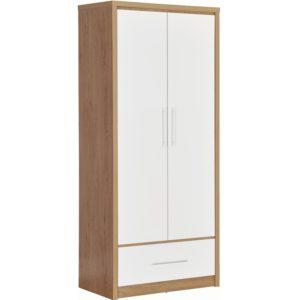 BBS1060  Seville 2 Door 1 Drawer Wardrobe in White High Gloss/  Light Oak Effect Venner edging.
