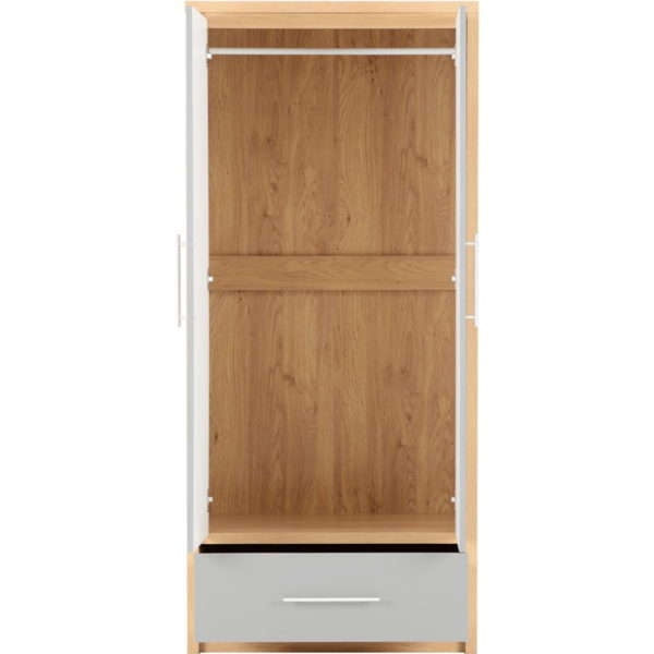 BBS1061  Seville 2 Door 1 Drawer Wardrobe in Grey High Gloss/  Light Oak Effect Venner edging.