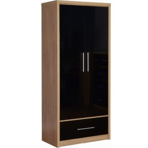 BBS1062  Seville 2 Door 1 Drawer Wardrobe in Black High Gloss/  Light Oak Effect Venner edging.