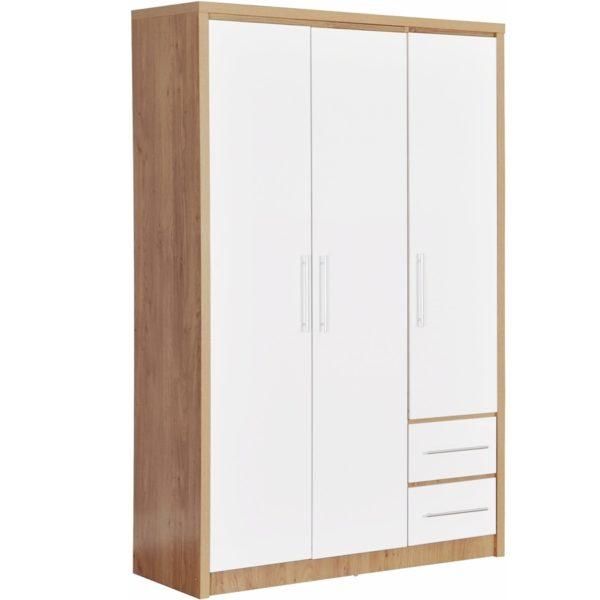 BBS1063  Seville 3 Door 2 Drawer Wardrobe in White High Gloss/  Light Oak Effect Venner edging.