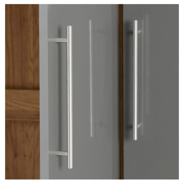 BBS1064  Seville 3 Door 2 Drawer Wardrobe in Grey High Gloss/  Light Oak Effect Venner edging.