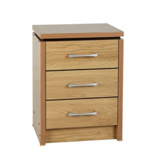 BBS1075  Charles 3 Drawer bedside locker in Oak Veneer