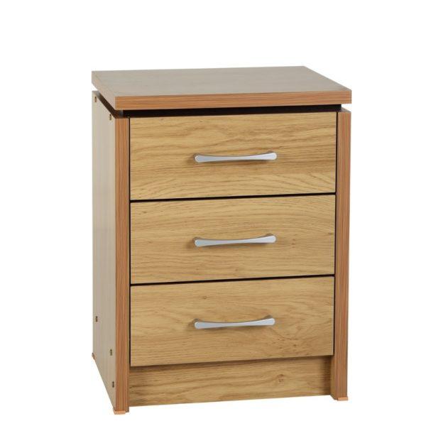 BBS1075  Charles 3 Drawer bedside locker in Oak Veneer