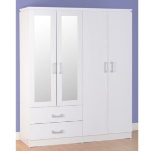 BBS1076  Charles 4 Door 2 Drawer Wardrobe in White