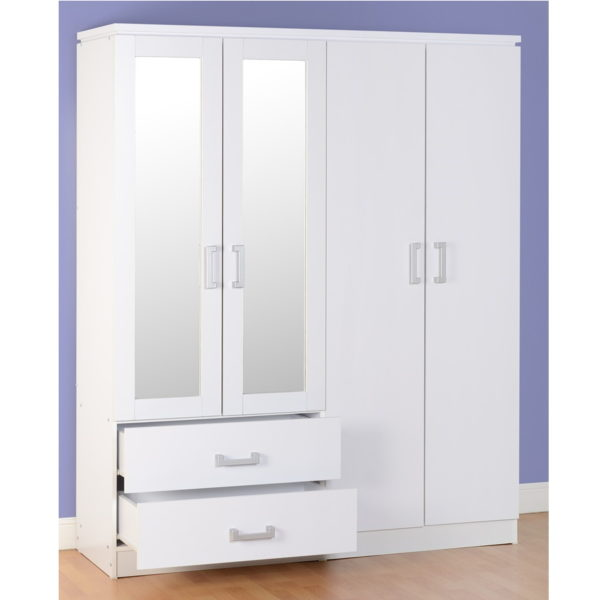 BBS1076  Charles 4 Door 2 Drawer Wardrobe in White