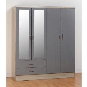 BBS1103  Nevada 4 Door 2 Drawer Wardrobe in Grey