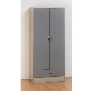BBS1104  Nevada 2 Door 1 Drawer Wardrobe in Grey