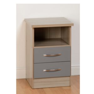 BBS1105  Nevada 2 Drawer Bedside locker  in Grey