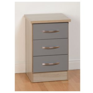 BBS1106  Nevada 3 Drawer Bedside locker  in Grey