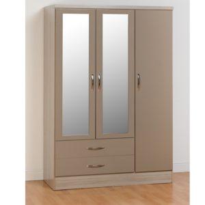 BBS1109  Nevada 3 Door 2 Drawer Wardrobe in Oyster