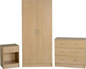 BBS1137  Bellingham bedroom set in Oak Effect Veneer. Include wardrobe, chest of drawers and bedside locker.