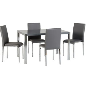BBS1144  Charisma Dinig Set with 4 chairs in Grey Gloss
