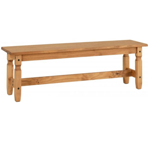 BBS1150  Corona 5ft Bench in Distressed Waxed Pine.