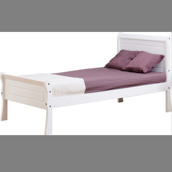 BBS1151  Georgia 3ft Sleigh bed in White.