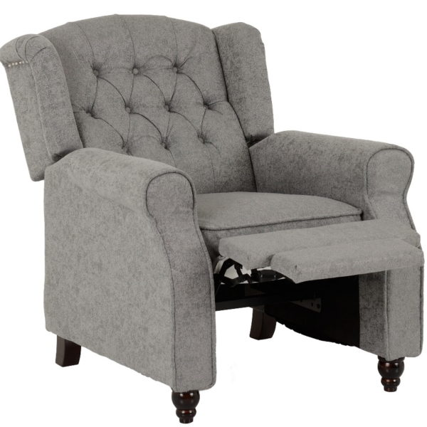 BBS1159  Balmoral reclining chair in grey fabric.