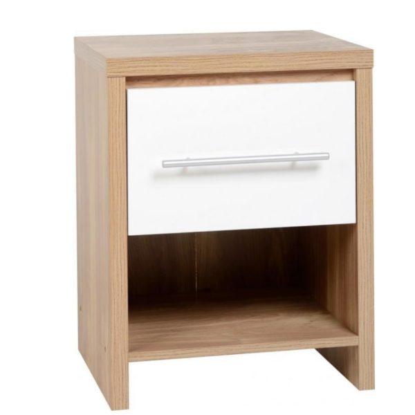 BBS116  Seville 1 Drawer Bedside Cabinet in White