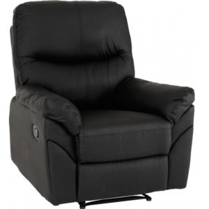 BBS1166  Capri reclining chair in black faux leather.