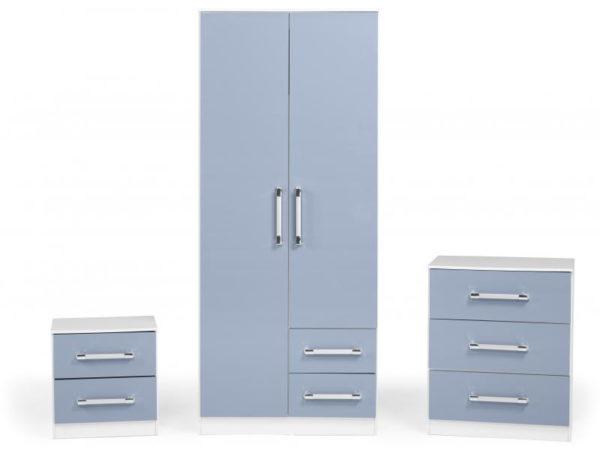 BBS1173  Jasper bedroom set in blue gloss.