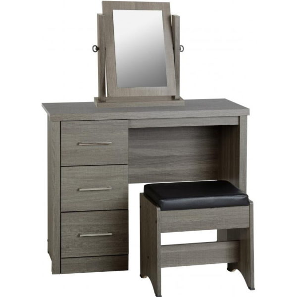 BBS1178  Lisbon three piece dressing set with mirror in black wood grain.