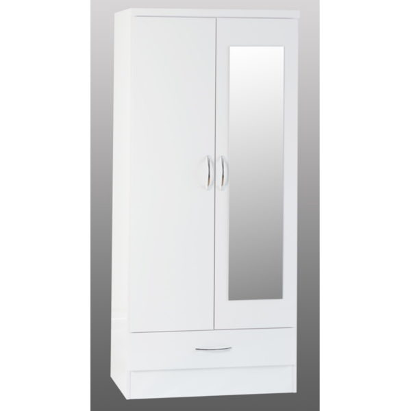 BBS1180  Nevada Mirrored 2 door 1 drawer Wardrobe in White Gloss.