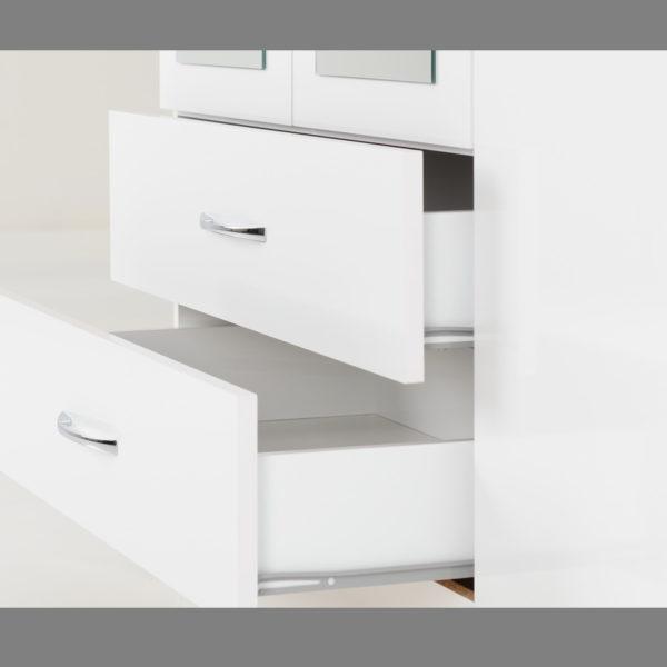 BBS1182  Nevada 4 door 2 drawer Wardrobe in White Gloss.