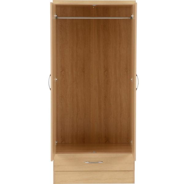 BBS1186  Nevada 2 door 1 drawer wardrobe in Sonoma Oak effect.