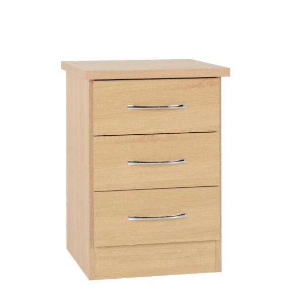 BBS1196  Nevada three  drawer bedside locker in Sonoma Oak effect.