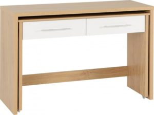 BBS1213  Seville slider desk in White and oak effect.