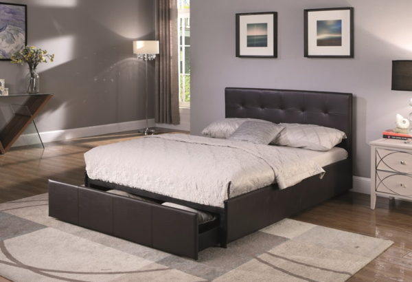 BxBS1228  Mabel kingsize bed with drawer in brown PU.