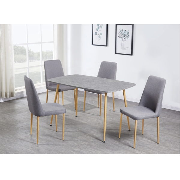 BBS1268  Portland Dining Set in Concrete Effect with 4 grey chairs.