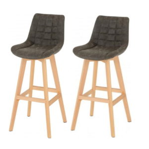 BBS1275  Brisbane Bar chair (Pair) in grey faux leather.