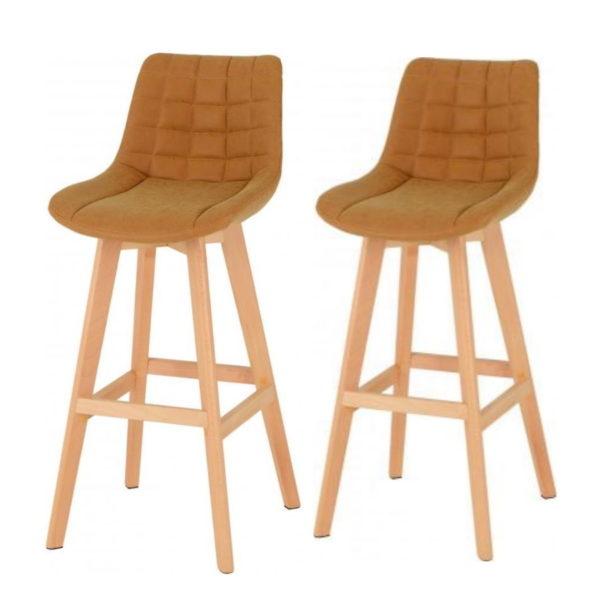 BBS1276  Brisbane Bar chair (Pair) in mustard faux leather.