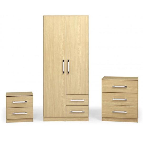 BBS1283  Jasper bedroom set in oak effect.