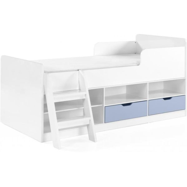 BuBS1284  Jasper low sleeper bed in white and blue gloss.