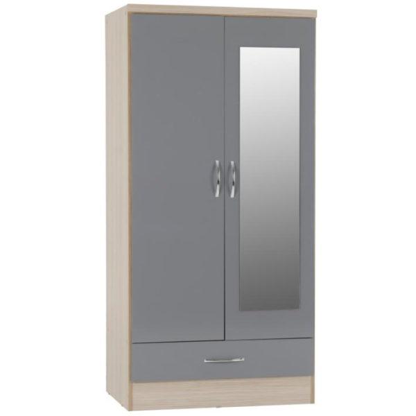 BBS1301  Nevada Mirrored 2 door 1 drawer Wardrobe in Grey Gloss.