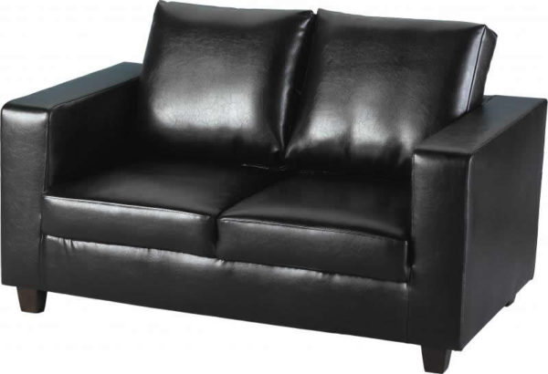 BBS256  Tempo Two Seater Sofa in Black Faux Leather