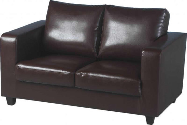 BBS258  Tempo Two Seater Sofa in Brown Faux Leather