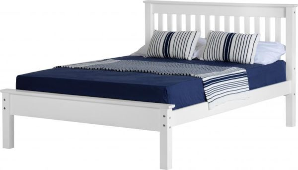 BwBS279  Monaco 4Ft6inch Bed Low Foot End in white