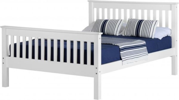 BwBS317  Monaco 4Ft6inch Bed High Foot End in White