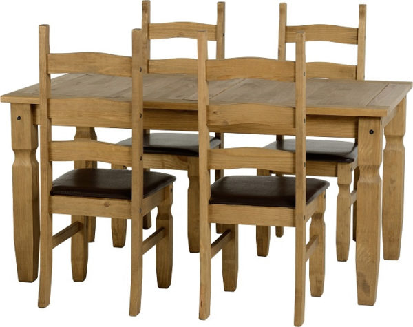 BBS350  Corona 5Ft Dining Set  with 4 Brown Faux Leather Chairs