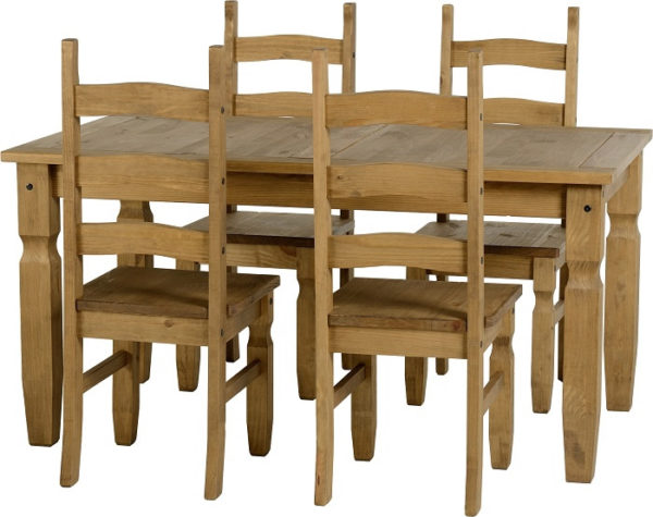 BBS368  Corona 5Ft Dining Set  with 4 Plain Chairs