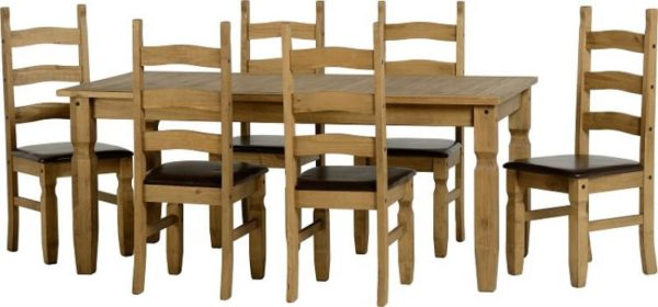 BBS388  Corona Extending Dining Set with Brown Faux Leather Seats