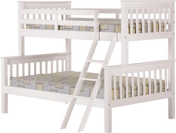 BuBS392  Neptune Triple Sleeper Bunk Bed in White