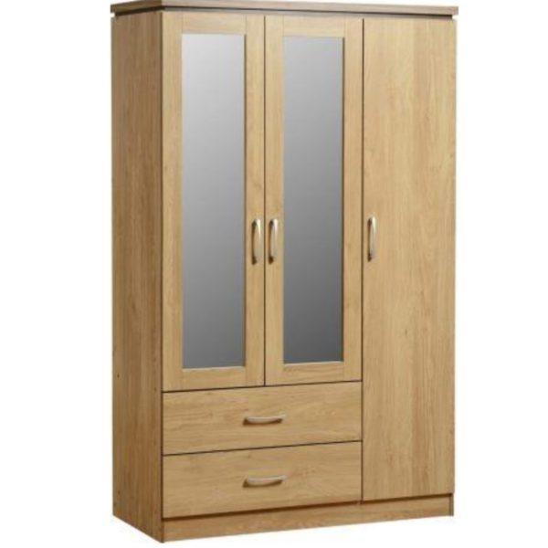 BBS439  Charles 3 Door 2 Drawer Mirrored Wardrobe