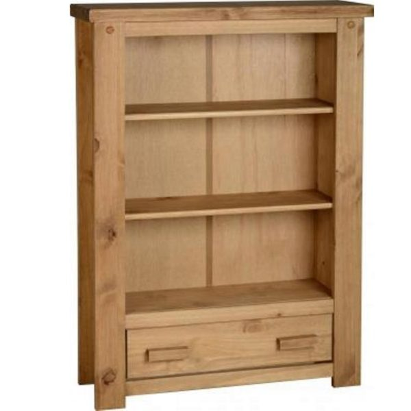 BBS583  Tortilla 1 Drawer Bookcase in Distressed Waxed Pine